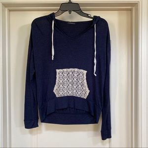 Blue Long Sleeve with Hood & Front Lace Pockets